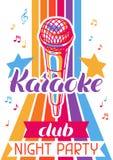 De affiche van de karaokeclub De banner van de muziekgebeurtenis Illustratie met microfoon in retro stijl stock illustratie