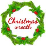 De affiche van de Kerstmiskroon met hulstbessen en de takken van de Kerstmisboom die op witte achtergrond worden geïsoleerd Royalty-vrije Stock Foto
