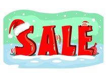 De affiche van de Kerstmisverkoop met leuke santas stock illustratie