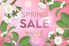 De affiche van de de lenteverkoop met bloeiende kers Ontwerpsjabloonkaart voor het hotel, schoonheidssalon, kuuroord, restaurant, stock illustratie
