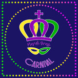 De affiche van Mardigras met tekst, kroon, masker en parels Stock Foto