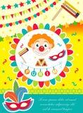 De affiche van Purimcarnaval, uitnodiging, vlieger De malplaatjes voor uw ontwerp met masker, hamantaschen, clown, ballons, Grage royalty-vrije illustratie