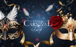 De affiche van Venetië Carnaval stock illustratie