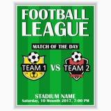 De affiche van de voetballiga Ontwerpmalplaatje voor de kaart van de sportuitnodiging op spel met het embleem van de voetbalclub  Royalty-vrije Stock Afbeelding