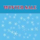 De affiche van de de winterverkoop met dalende sneeuwvlokken Stock Afbeeldingen