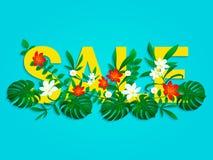 De affiche van de de zomerverkoop met mooie, heldere tropische bladeren, bloemen Eind van een vectorontwerp van de seizoenkorting royalty-vrije illustratie