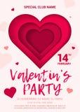De affiche voor een partij ter ere van de Dag van Valentine Stock Foto