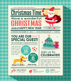 De afficheachtergrond van de Kerstmispartij in krantenstijl Stock Foto