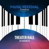 De afficheachtergrond van het muziekfestival Muzikale van de de pianomuziek van het jazzoverleg de koffie promotieaffiche Stock Afbeeldingen