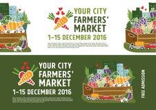 De afficheconcept van de landbouwersmarkt Stock Afbeeldingen