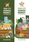 De afficheconcept van de landbouwersmarkt Stock Foto