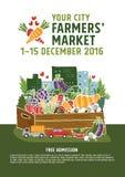 De afficheconcept van de landbouwersmarkt stock illustratie