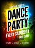 De affichemalplaatje van de danspartij De Partijvlieger van de nachtdans Het ontwerpmalplaatje van de clubpartij op donkere kleur Royalty-vrije Stock Foto