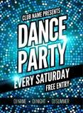 De affichemalplaatje van de danspartij De Partijvlieger van de nachtdans Het ontwerpmalplaatje van de clubpartij op donkere kleur Royalty-vrije Stock Fotografie