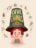 De afficheontwerp van de dankzeggingskaart Stock Afbeeldingen