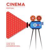 De afficheontwerp van de filmbioskoop Stock Foto's