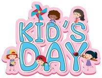 De afficheontwerp van de jonge geitjesdag met gelukkige jonge geitjes stock illustratie