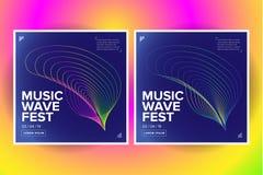 2 de afficheontwerp van de muziekgolf Correcte vlieger met de abstracte golven van de gradiëntlijn Geïsoleerdee vectorillustratie royalty-vrije stock afbeeldingen