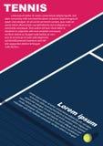 De afficheontwerp van tennistoernooien Affiche vectormalplaatje royalty-vrije stock fotografie
