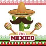 De affichepictogram van Vivamexico stock illustratie