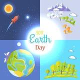 2017 de Affiches van de aardedag Reizend aan Maan worden geplaatst die royalty-vrije illustratie