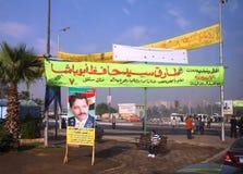 De affiches van de campagne op straten van Kaïro Egypte Stock Afbeeldingen