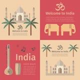 De affiches van het reisconcept van India Stock Foto's