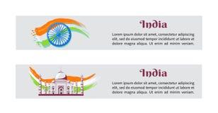 De Affiches van India van de onafhankelijkheidsdag met Nationale Vlag stock illustratie