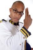 De Afrikaanse Amerikaanse beheerder van het cruiseschip, begroeting Stock Afbeeldingen