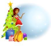 De Afrikaanse Amerikaanse Helper van Kerstmis van de Kerstman vector illustratie