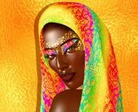 De Afrikaanse Amerikaanse Manierschoonheid met hoofdsluier en schittert schoonheidsmiddelen royalty-vrije illustratie