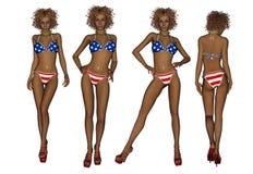 De Afrikaanse Amerikaanse Vrouw van de Bikini Stock Foto