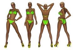 De Afrikaanse Amerikaanse Vrouw van de Bikini Stock Fotografie