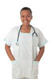 De Afrikaanse Amerikaanse zwarte stethoscoop van de artsenverpleegster Stock Fotografie