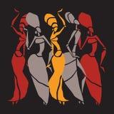 De Afrikaanse dansers silhouetteren reeks Stock Foto's