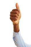 De Afrikaanse duim van de handholding omhoog stock afbeeldingen