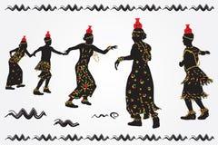 De Afrikaanse mensen dansen volksdans Stock Foto's