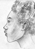 De Afrikaanse schets van het meisjespotlood Stock Foto
