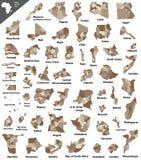 De Afrikaanse vector geïsoleerde kaarten van het land Royalty-vrije Stock Afbeeldingen