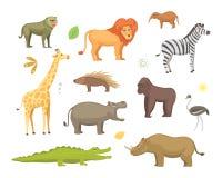 De Afrikaanse vectorreeks van het dierenbeeldverhaal olifant, rinoceros, giraf, jachtluipaard, zebra, hyena, leeuw, hippo, krokod Stock Afbeeldingen