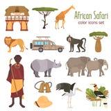 De Afrikaanse vlakke geplaatste pictogrammen van de safarikleur royalty-vrije illustratie