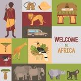De Afrikaanse vlakke geplaatste pictogrammen van de safarikleur stock illustratie