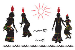 De Afrikaanse vrouwen dansen volksdans Royalty-vrije Stock Afbeeldingen