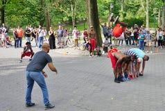 De Afrobats-uitvoerders in Central Park, New York stock foto