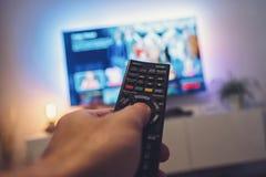 De afstandsbediening van TV Stock Foto