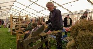 De afstraffing van het linnenvlas bij Shanes-het Landgoed Antrim Noord-Ierland van de Kasteelverzameling stock video