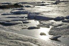 De afwijking van het ijs op de rivier de grote vlotter van ijsijsschollen royalty-vrije stock afbeeldingen