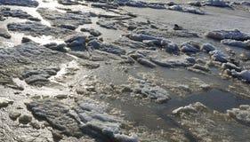 De afwijking van het ijs op de rivier de grote vlotter van ijsijsschollen royalty-vrije stock fotografie