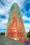 De Agbar Toren, Barcelona, Spanje. Royalty-vrije Stock Foto