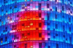 De Agbar Toren, Barcelona, Spanje. Stock Afbeeldingen
